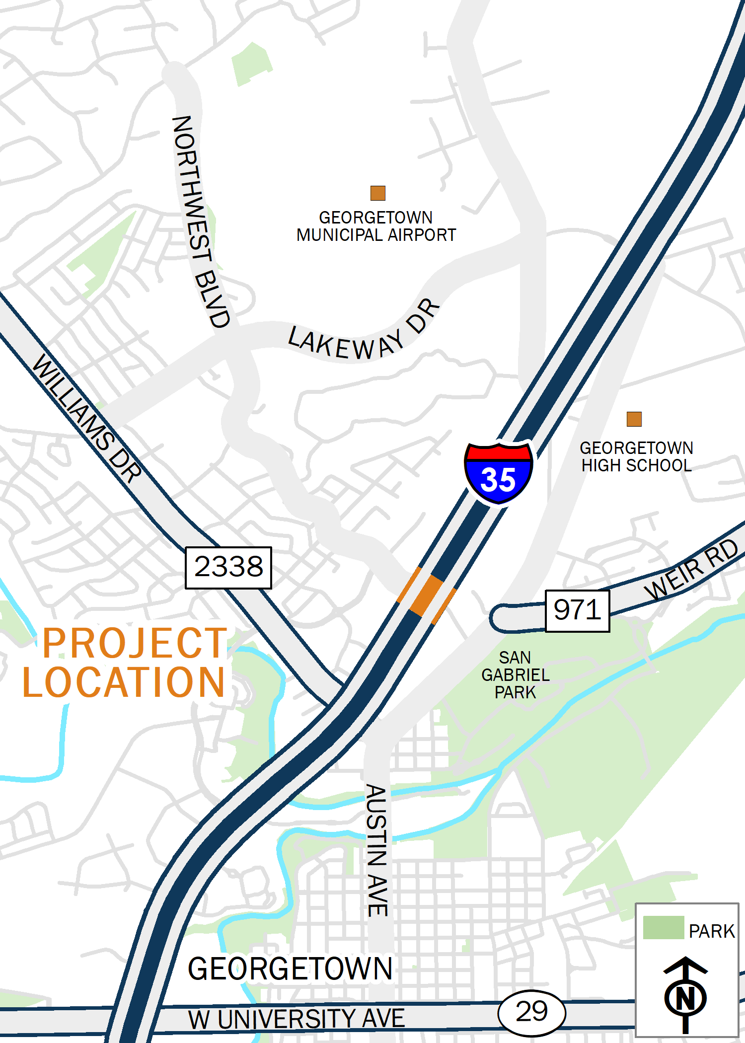 Map of I-35 at Northwest Boulevard