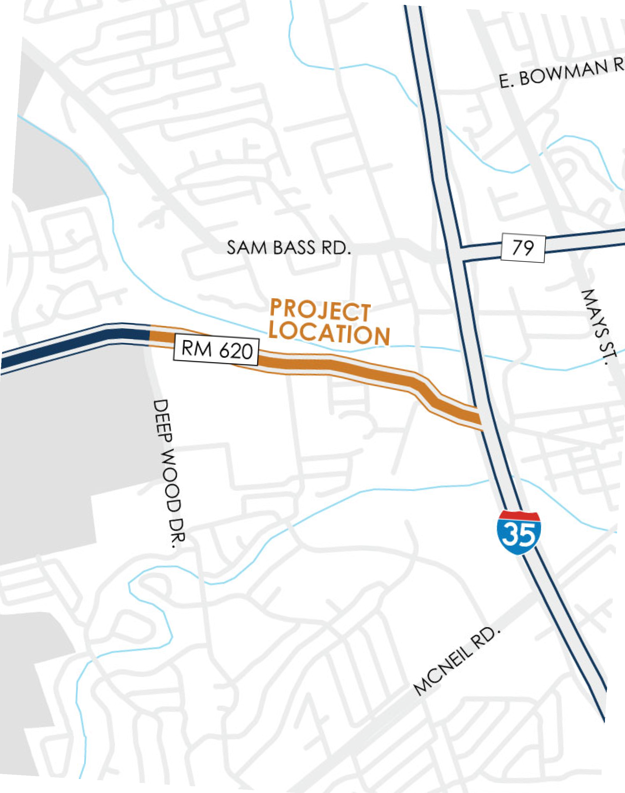 Map of RM 620 Roundabout (I-35 to Deep Wood Drive)
