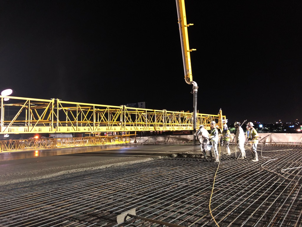Pouring bridge deck on William Cannon Bridge (north portion)