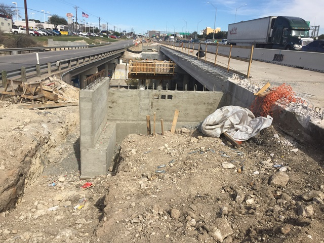 Southbound widening, abutment 4 wall, bent 3 columns, bent 2 columns and cap, abutment 1 wall