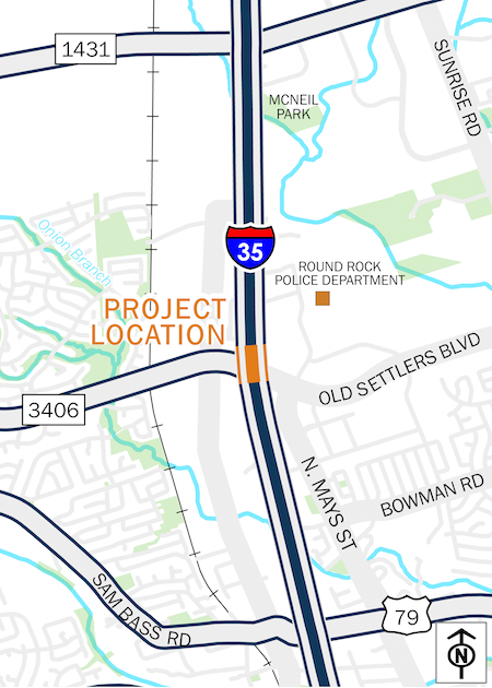 Map of I-35 at FM 3406
