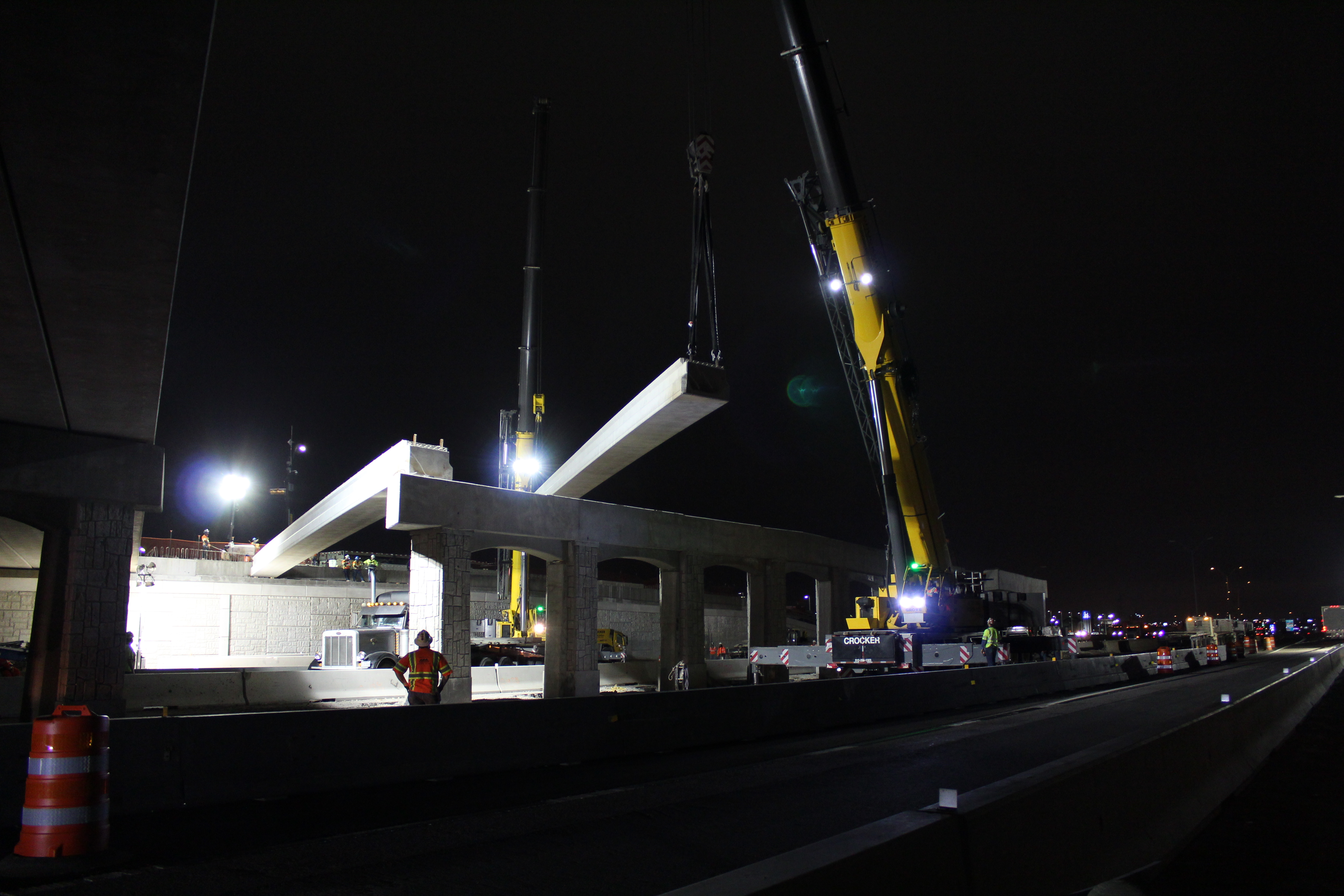 Beam setting done at night, while I-35 is less active.