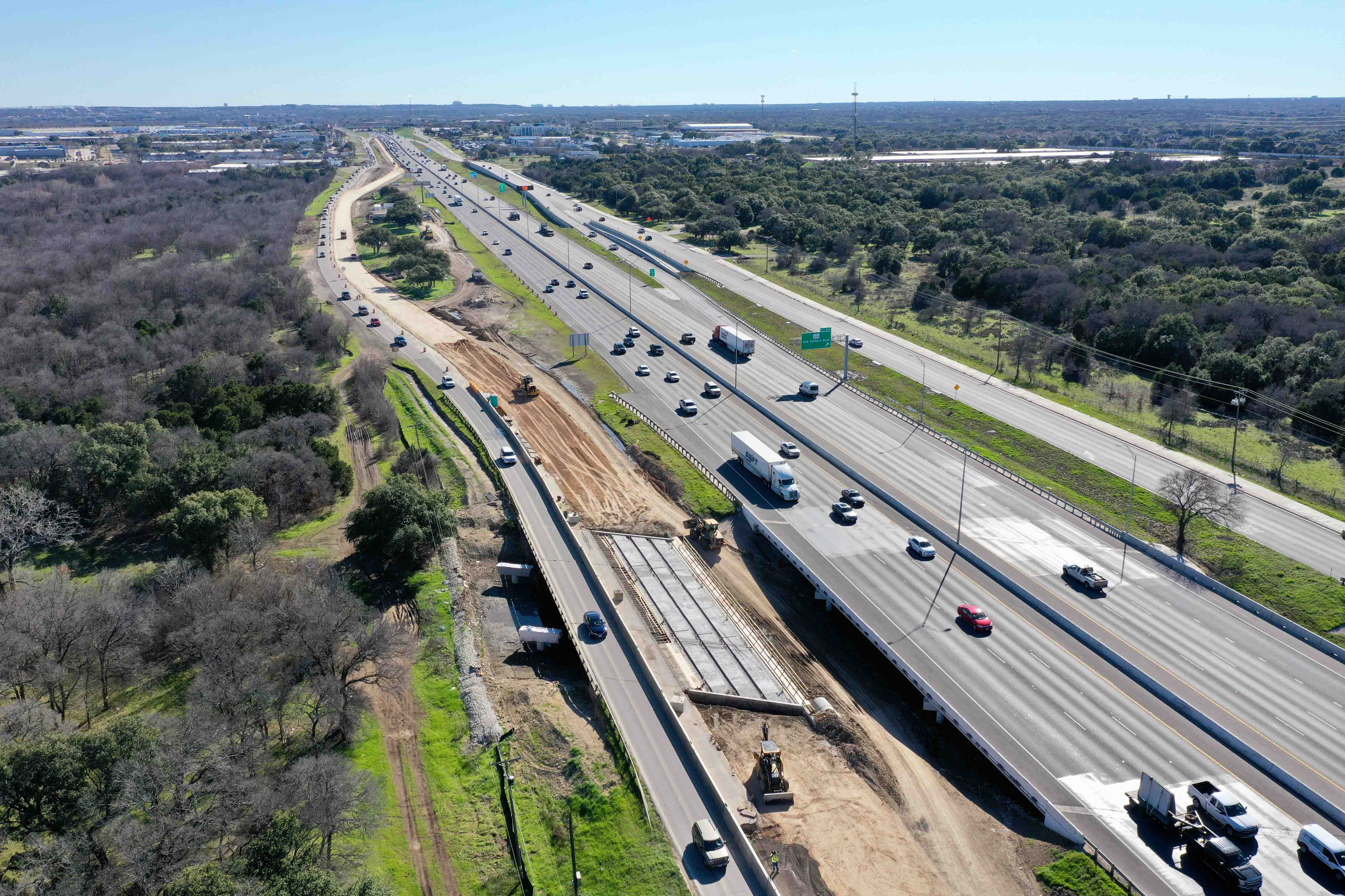 Northbound I-35 from FM 3406 to RM 1431 frontage road progress - February 2020