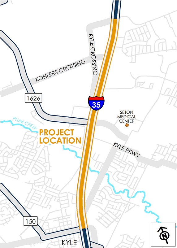 Map of I-35 from RM 150 to Kyle Crossing