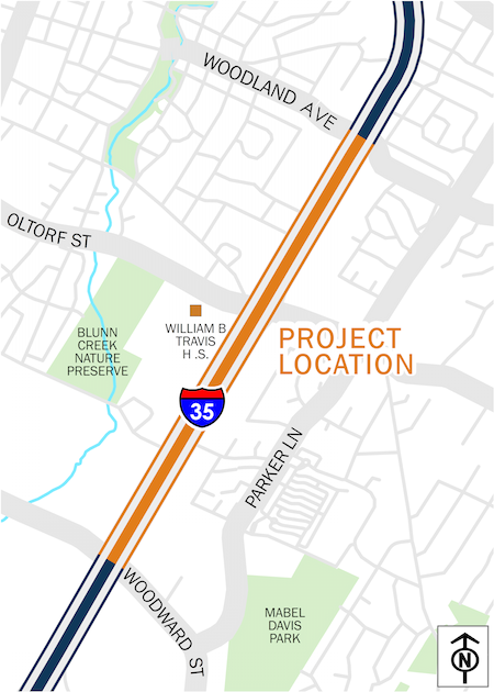 Map of I-35 at Oltorf Street