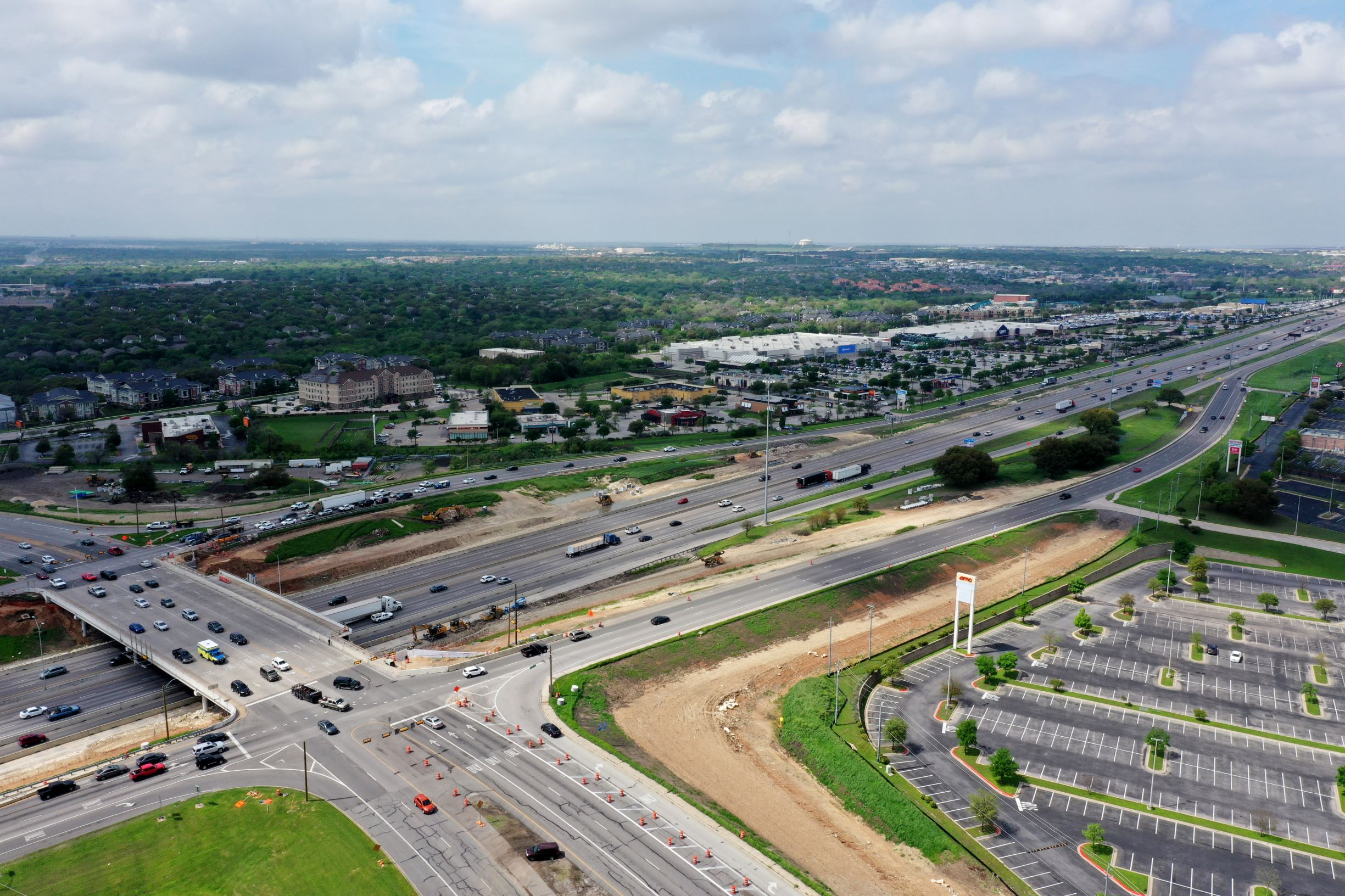 I-35 at Parmer Lane intersection bypass lane progress - March 2020