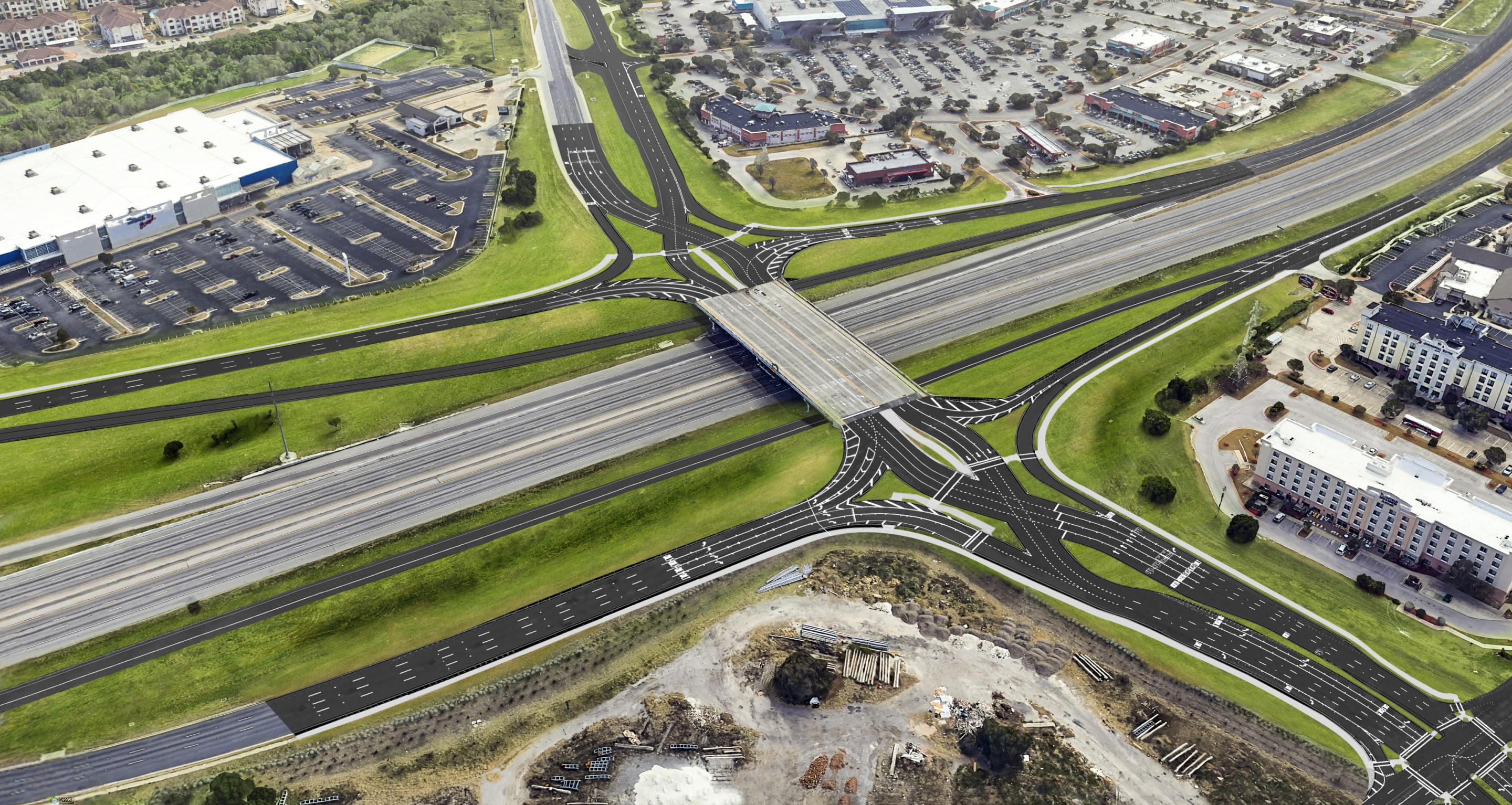 Aerial view of I-35 and Parmer Lane