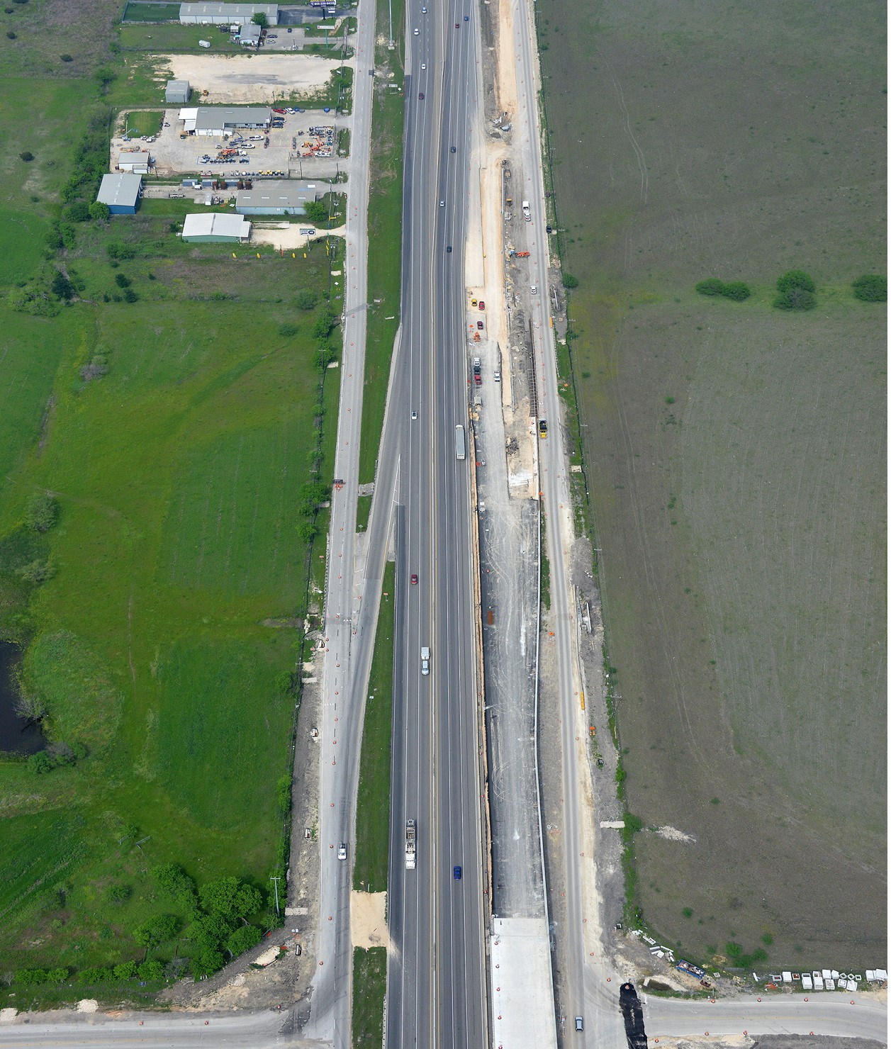 I-35 at Posey Road aerial view - April 2020