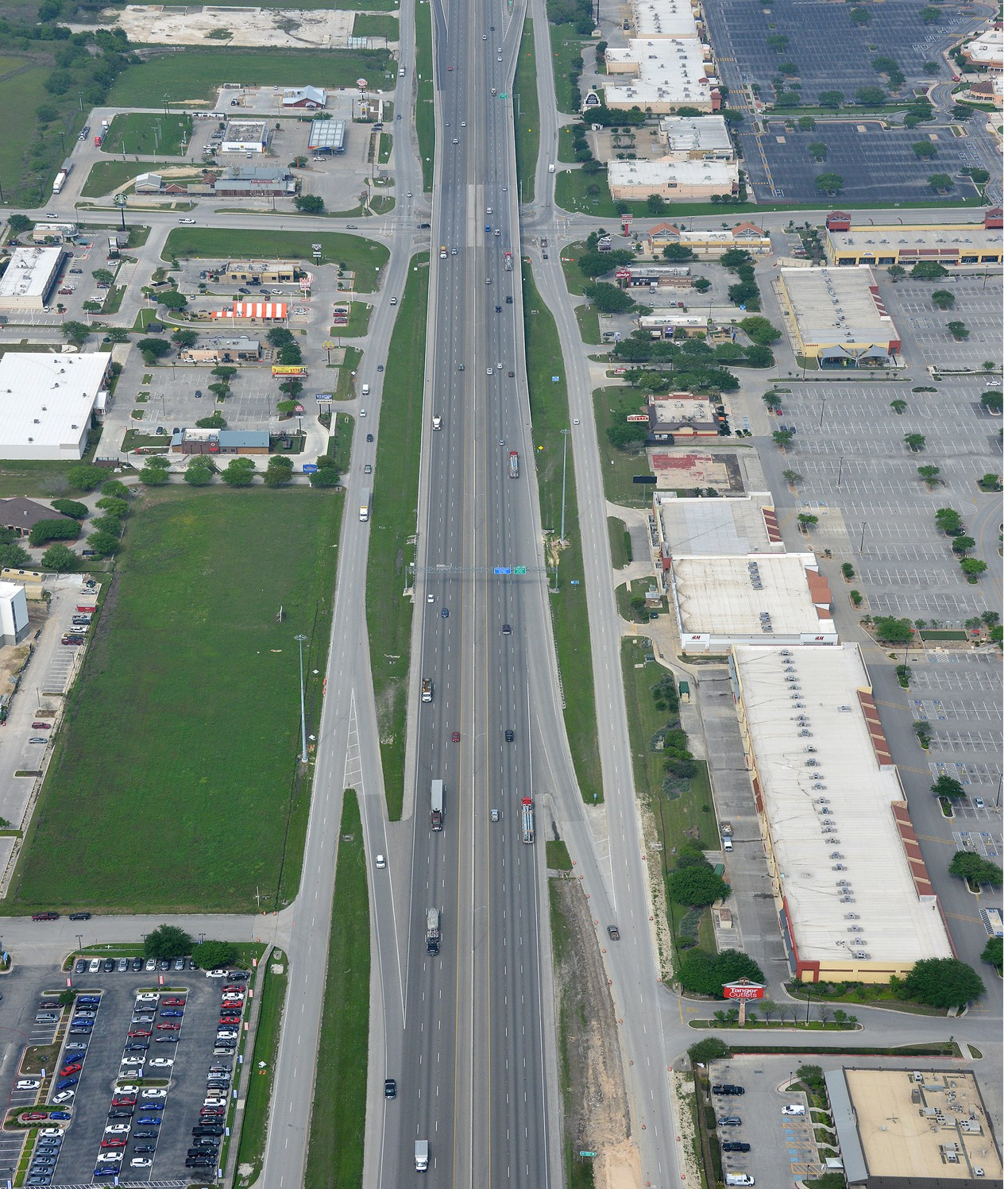 I-35 at Posey Road aerial view- April 2020