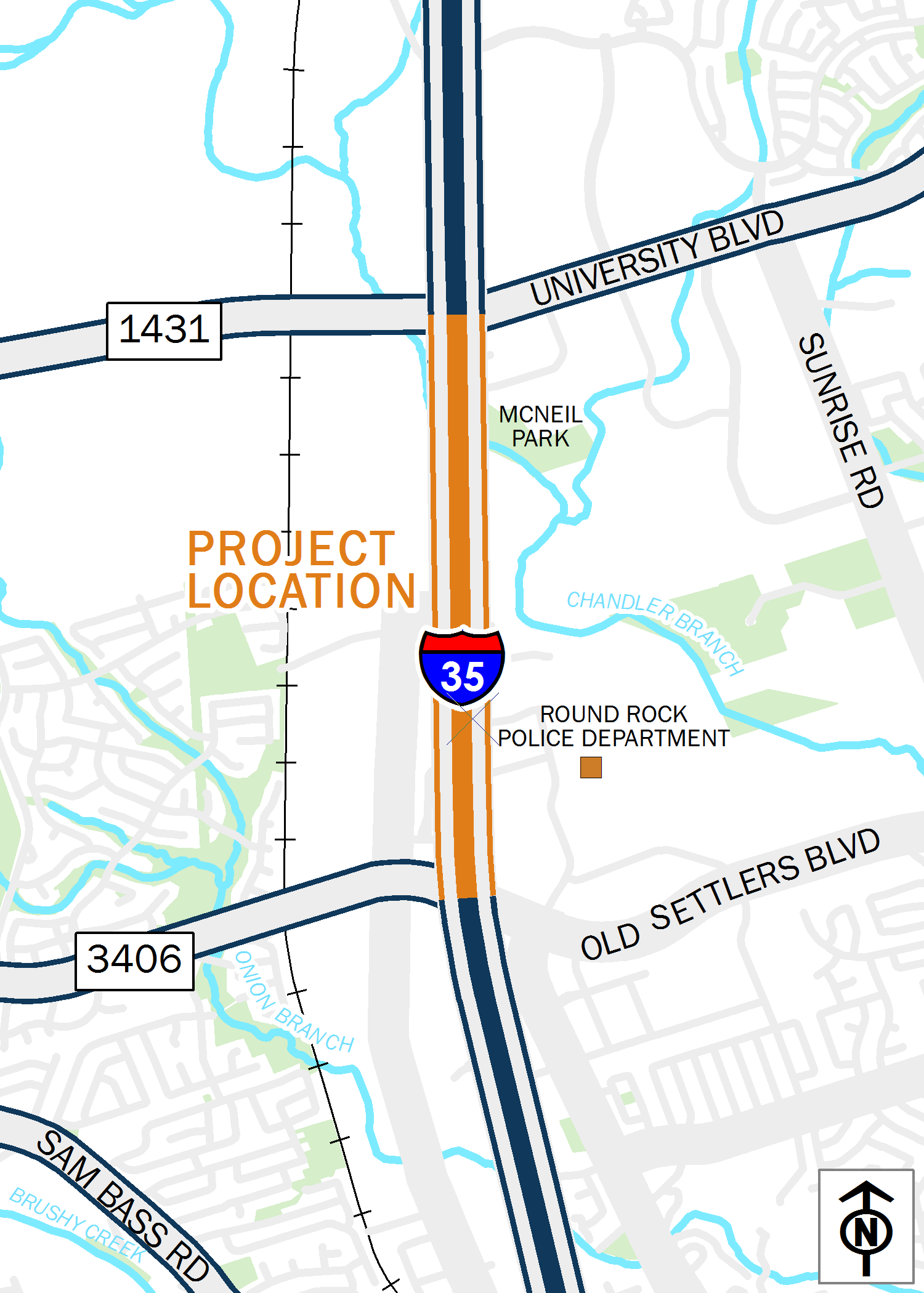 Map of I-35 from RM 1431 to FM 3406 (northbound)