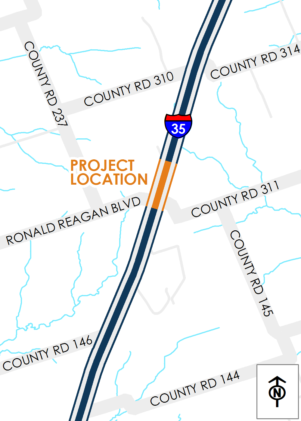Map of I-35 at Ronald Reagan Boulevard