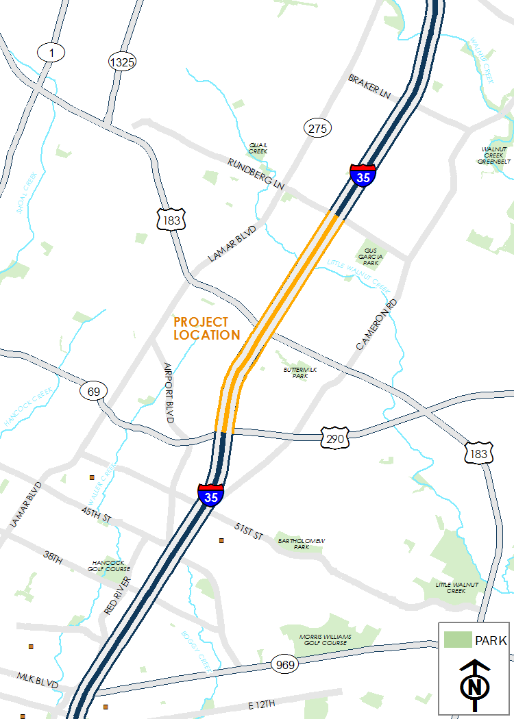 Map of I-35 from Rundberg Lane to US 290 East