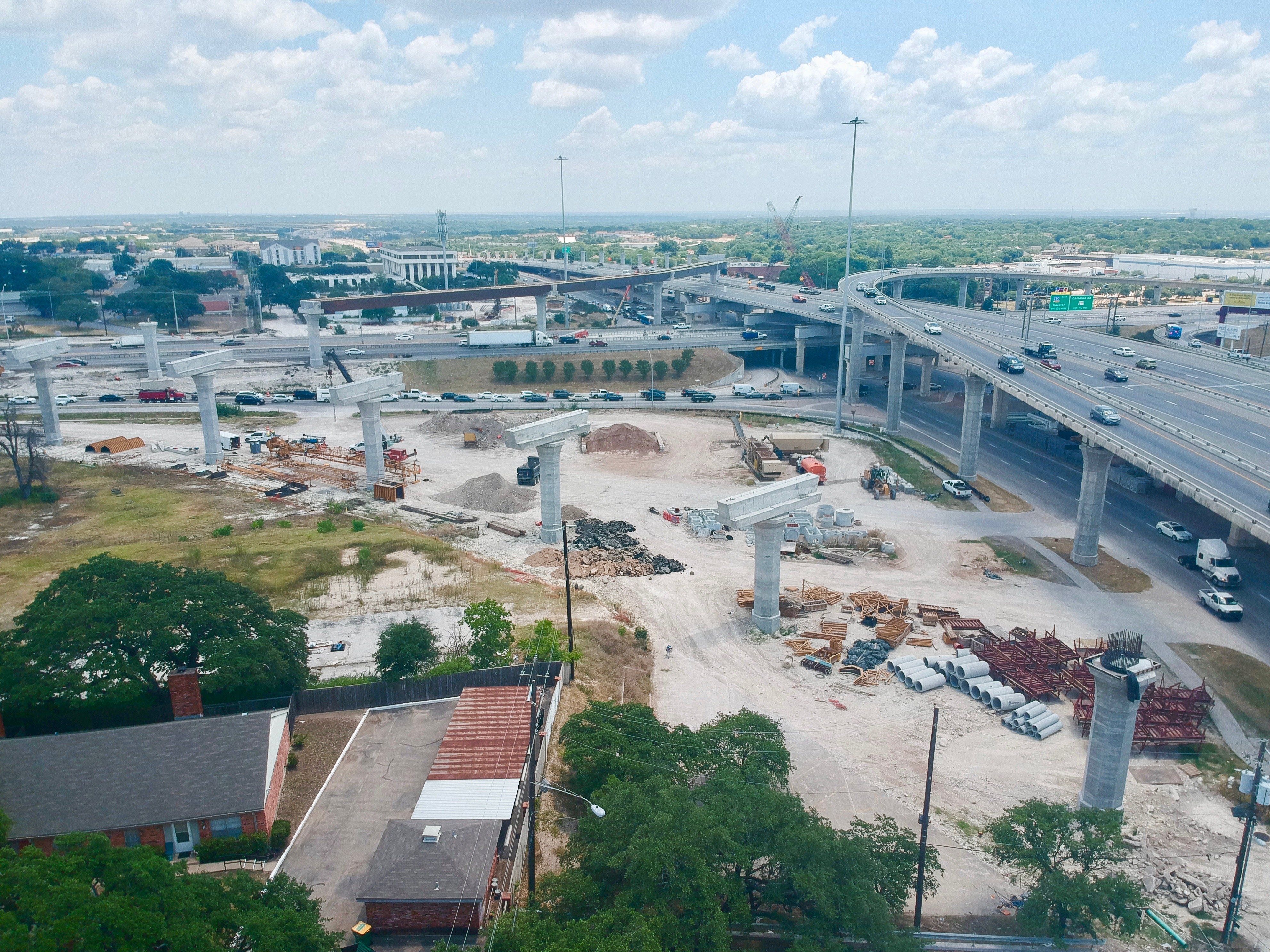 Southbound I-35 to southbound US 183 flyover progress – August 2019