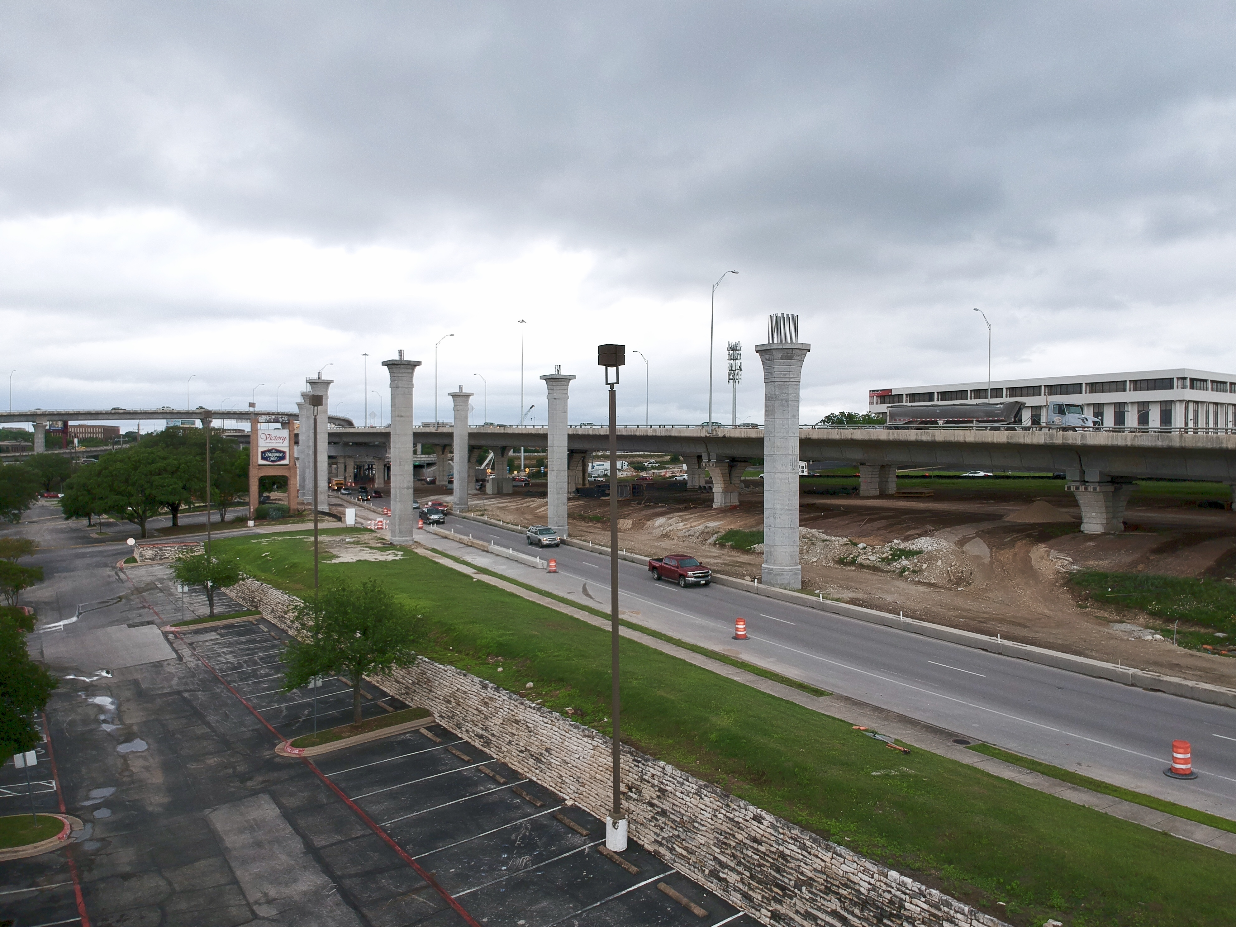Southbound I-35 to northbound US 183 flyover progress - May 2019