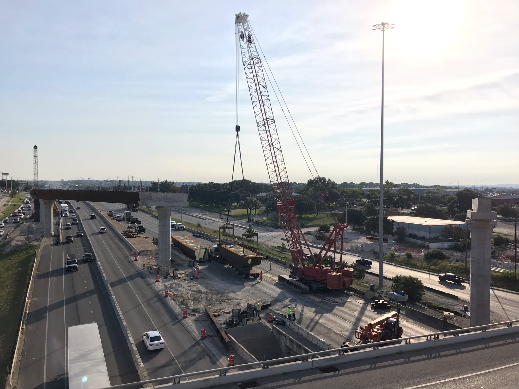 I-35 beam sets at US 183 - July 2019