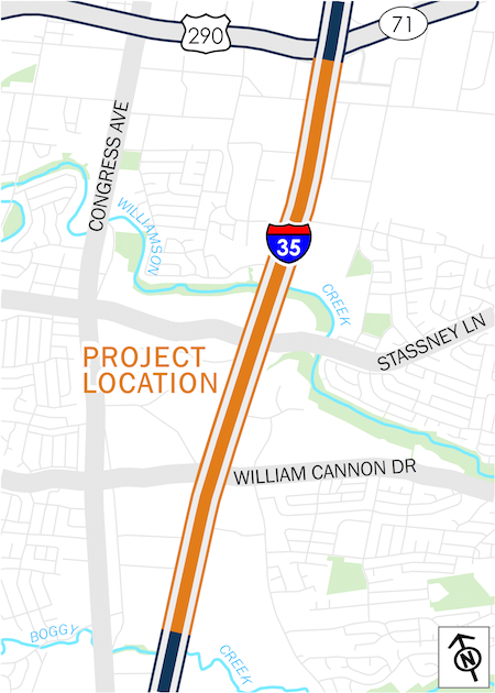 Map of I-35 from Stassney Lane to William Cannon Drive