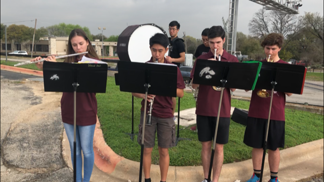 Members of the Round Rock High School Dragon Band perform at the groundbreaking ceremony for the RM 620 Roundabout project.